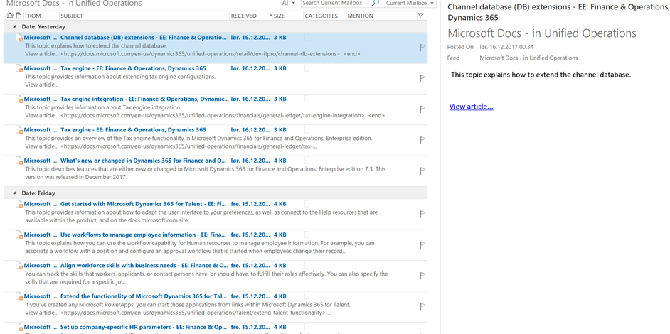 Keep track on Docs microsoft com from Outlook/RSS – Kurt